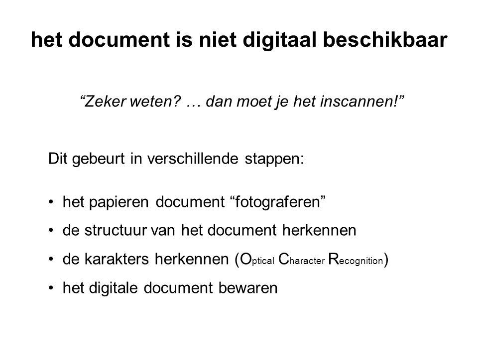 het document is niet digitaal beschikbaar Zeker weten.