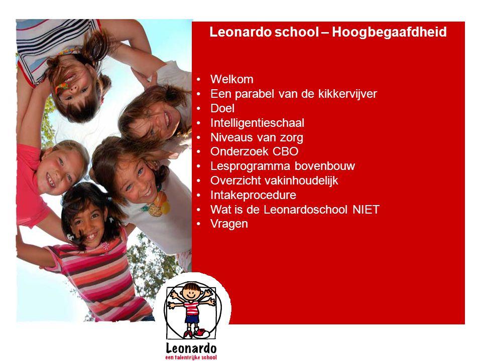 Leonardo school – Hoogbegaafdheid • Welkom • Een parabel van de kikkervijver • Doel • Intelligentieschaal • Niveaus van zorg • Onderzoek CBO • Lesprog