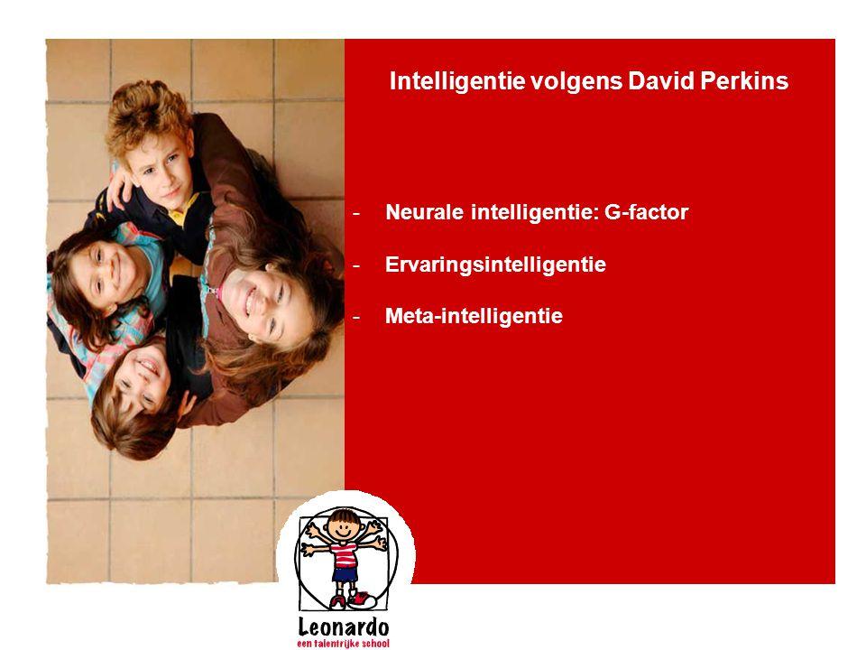 Intelligentie volgens David Perkins -Neurale intelligentie: G-factor -Ervaringsintelligentie -Meta-intelligentie