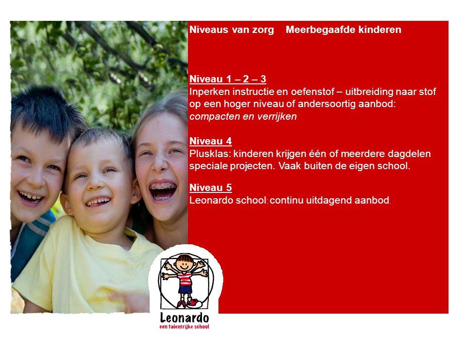 Niveaus van zorg Meerbegaafde kinderen Niveau 1 – 2 – 3 Inperken instructie en oefenstof – uitbreiding naar stof op een hoger niveau of andersoortig a