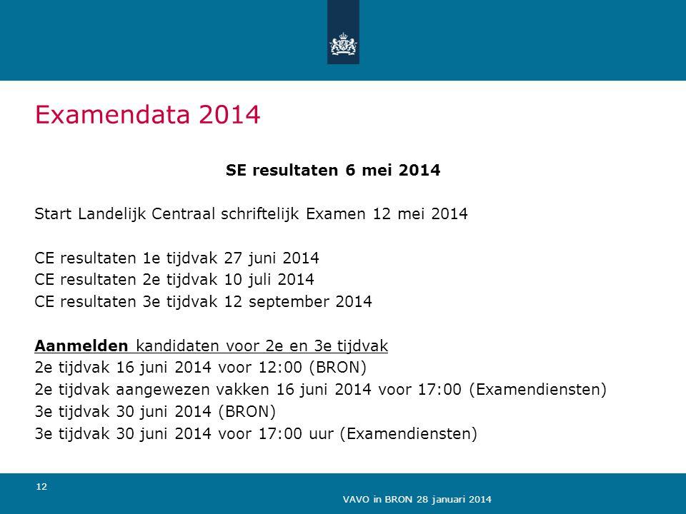 VAVO in BRON 28 januari 2014 12 Examendata 2014 SE resultaten 6 mei 2014 Start Landelijk Centraal schriftelijk Examen 12 mei 2014 CE resultaten 1e tij