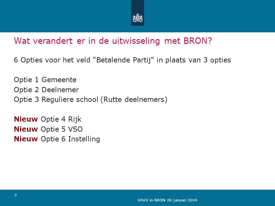 """VAVO in BRON 28 januari 2014 3 Wat verandert er in de uitwisseling met BRON? 6 Opties voor het veld """"Betalende Partij"""" in plaats van 3 opties Optie 1"""