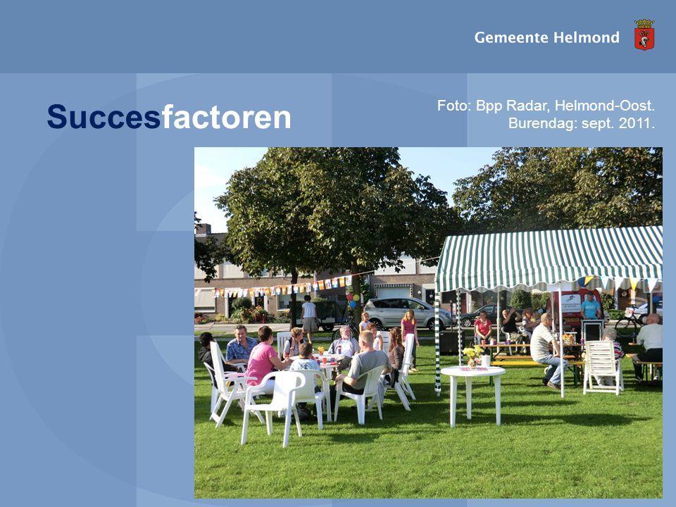 I pagina Succesfactoren Foto: Bpp Radar, Helmond-Oost. Burendag: sept. 2011.