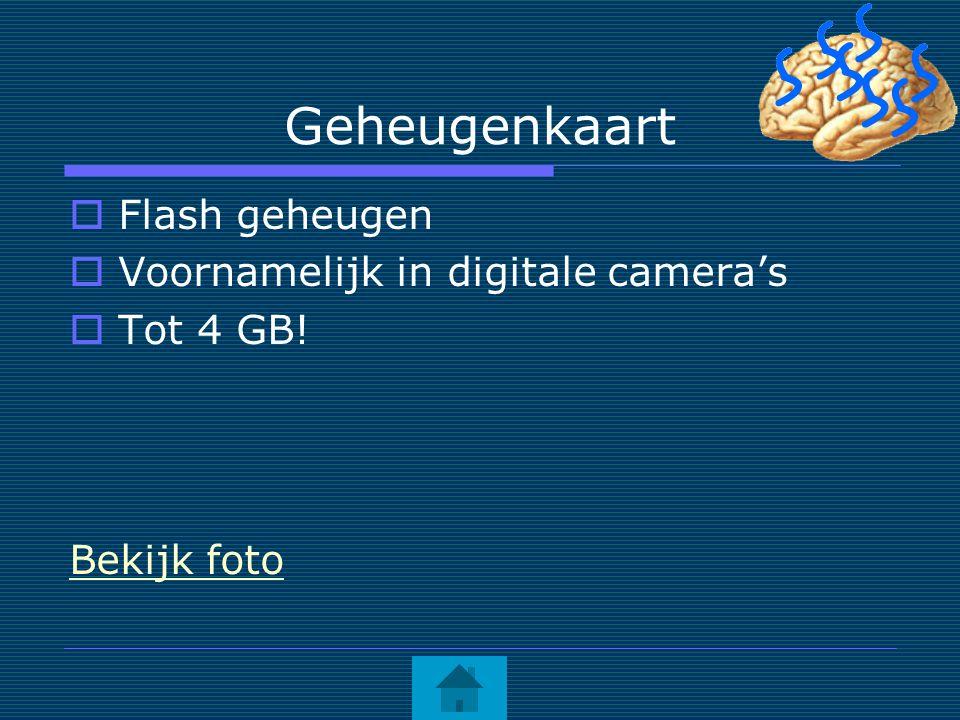 Geheugenkaart  Flash geheugen  Voornamelijk in digitale camera's  Tot 4 GB! Bekijk foto