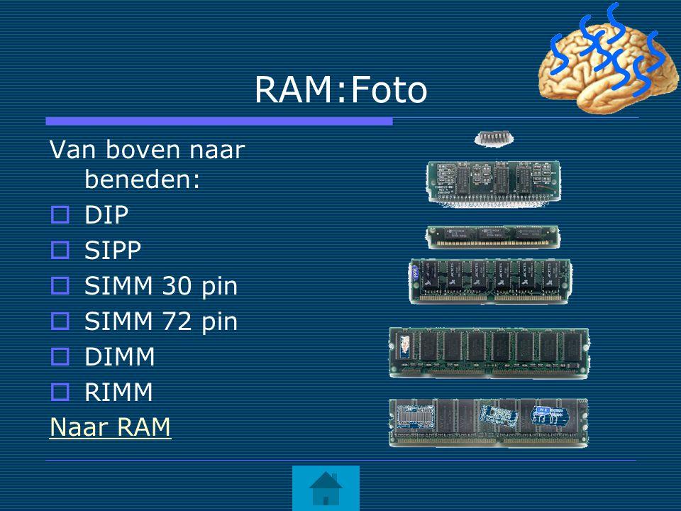 RAM:Foto Van boven naar beneden:  DIP  SIPP  SIMM 30 pin  SIMM 72 pin  DIMM  RIMM Naar RAM