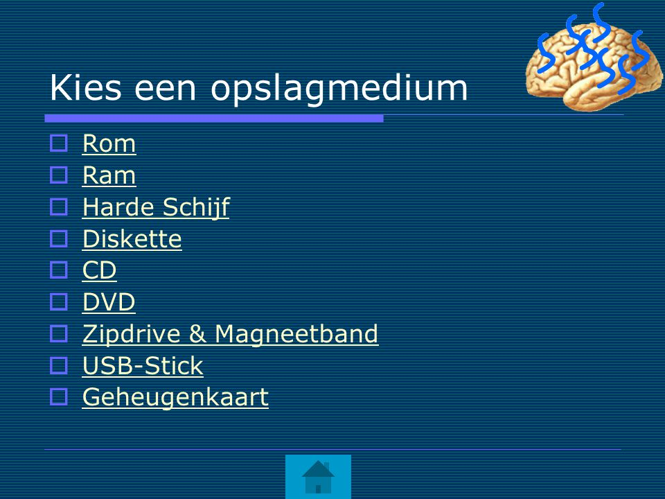 Kies een opslagmedium  Rom Rom  Ram Ram  Harde Schijf Harde Schijf  Diskette Diskette  CD CD  DVD DVD  Zipdrive & Magneetband Zipdrive & Magnee