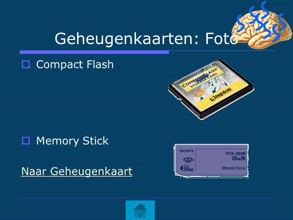 Geheugenkaarten: Foto  Compact Flash  Memory Stick Naar Geheugenkaart