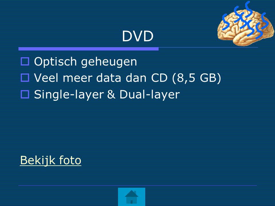 DVD  Optisch geheugen  Veel meer data dan CD (8,5 GB)  Single-layer & Dual-layer Bekijk foto