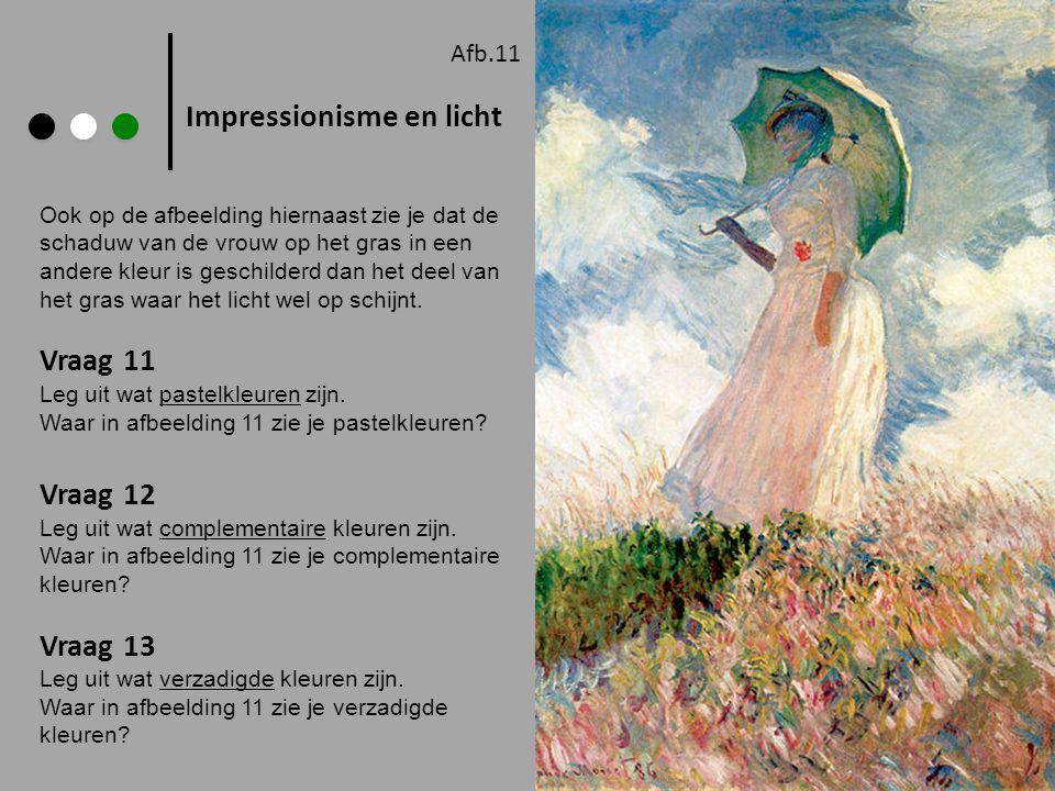 Impressionisme en licht Afb.11 Ook op de afbeelding hiernaast zie je dat de schaduw van de vrouw op het gras in een andere kleur is geschilderd dan he