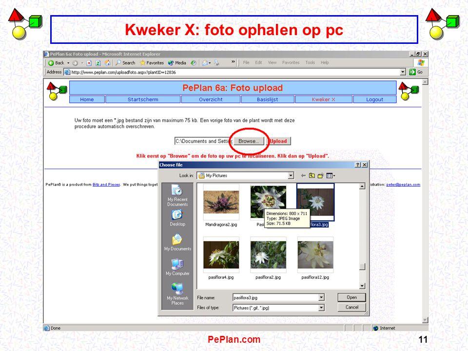 PePlan.com10 Kweker X: bevestiging en controle, dan foto