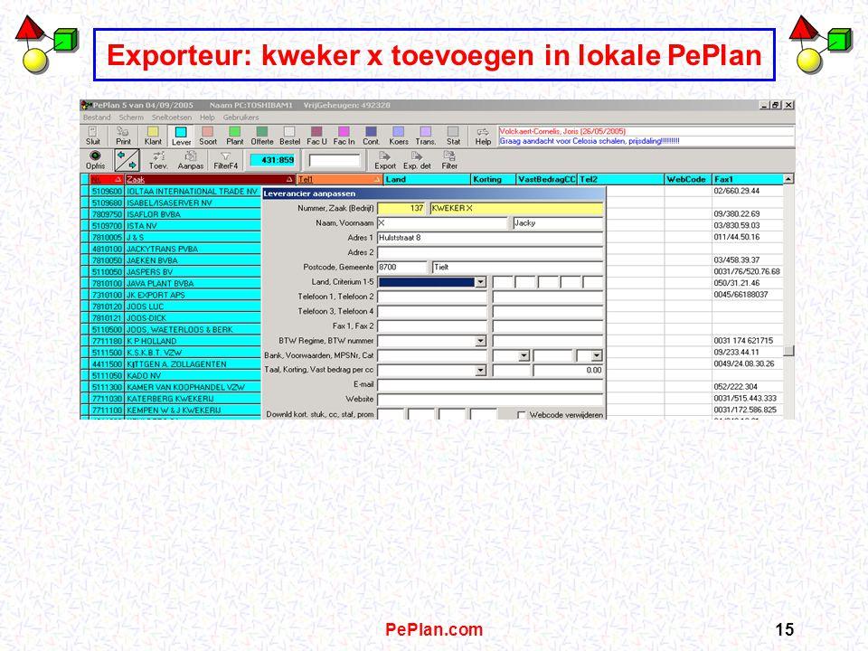 PePlan.com14 Exporteurs: vragen info kweker x op