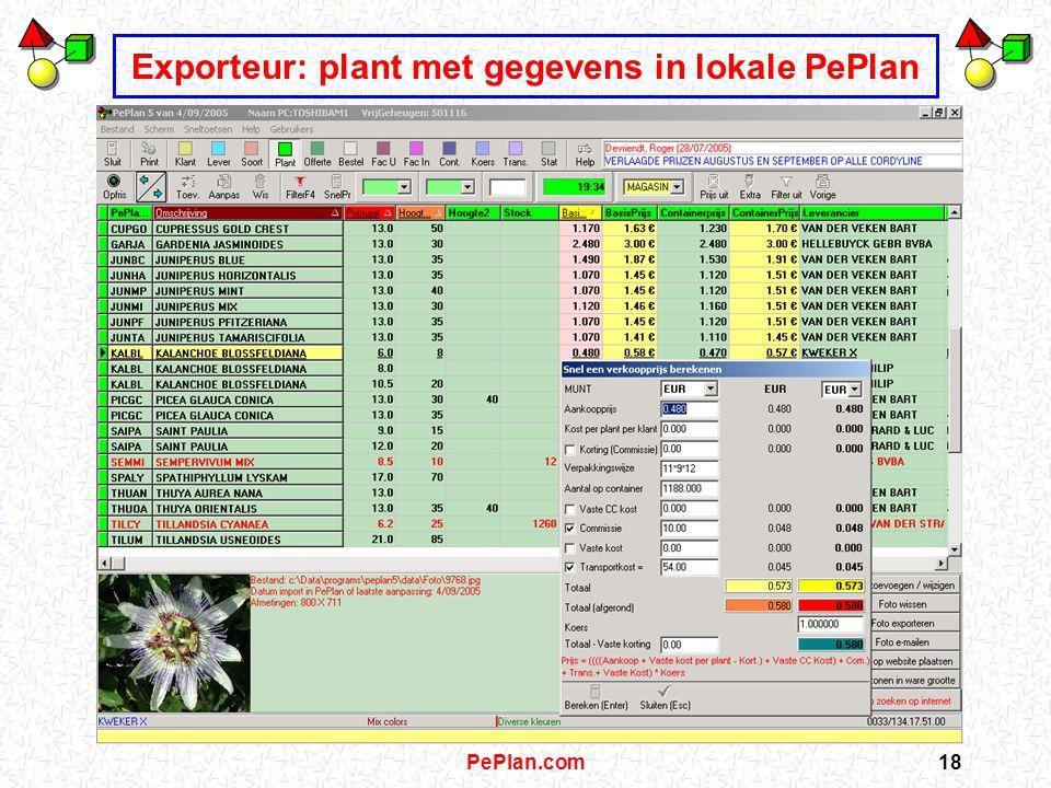 PePlan.com17 Exporteur: Plant en foto lokaal overnemen