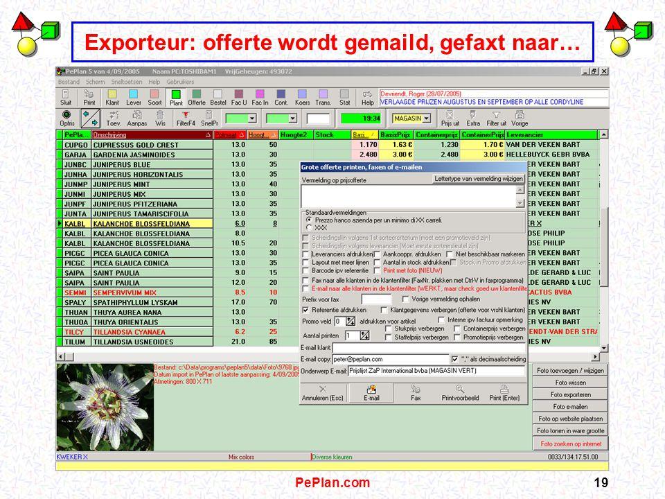PePlan.com18 Exporteur: plant met gegevens in lokale PePlan