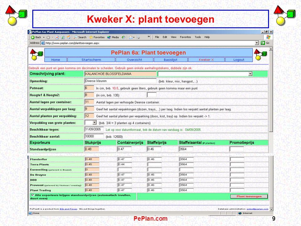 PePlan.com8 Kweker X: Status aangelogd, aanbod: 0 planten