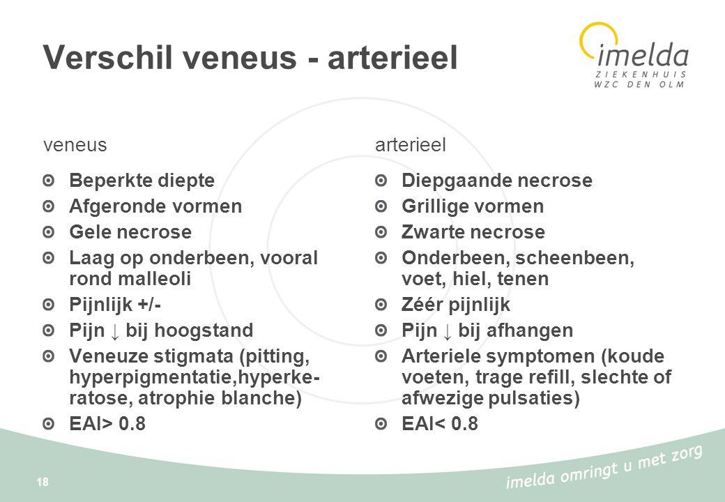 18 Verschil veneus - arterieel veneus Beperkte diepte Afgeronde vormen Gele necrose Laag op onderbeen, vooral rond malleoli Pijnlijk +/- Pijn ↓ bij ho