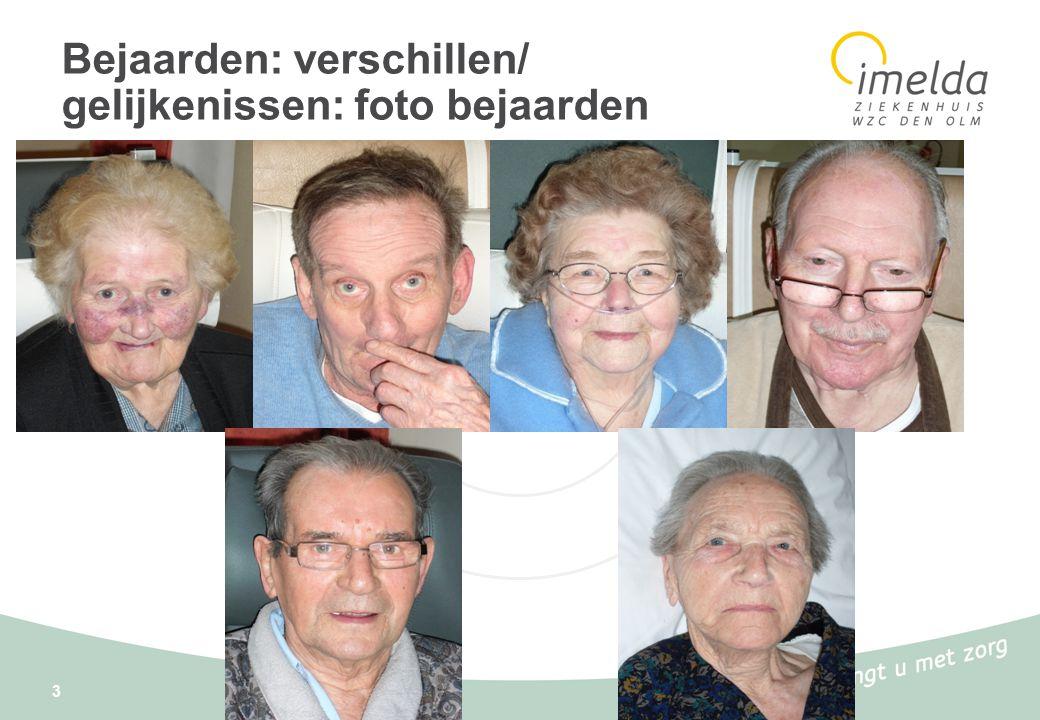 3 Bejaarden: verschillen/ gelijkenissen: foto bejaarden