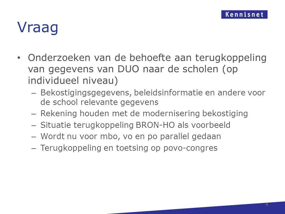 Vraag • Onderzoeken van de behoefte aan terugkoppeling van gegevens van DUO naar de scholen (op individueel niveau) – Bekostigingsgegevens, beleidsinf