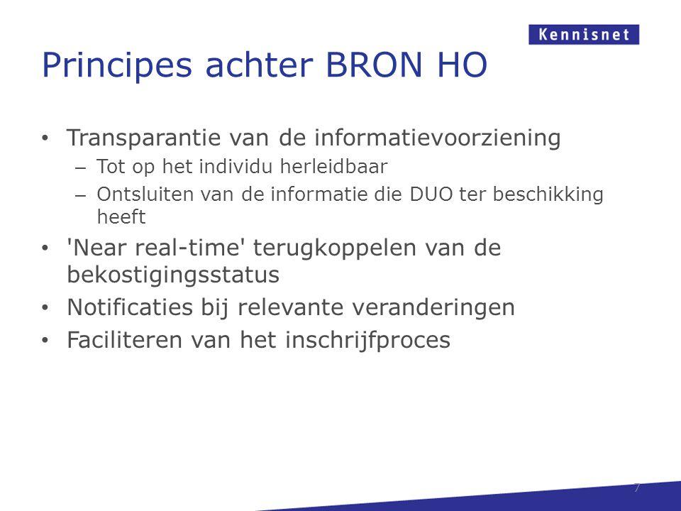 Principes achter BRON HO • Transparantie van de informatievoorziening – Tot op het individu herleidbaar – Ontsluiten van de informatie die DUO ter bes