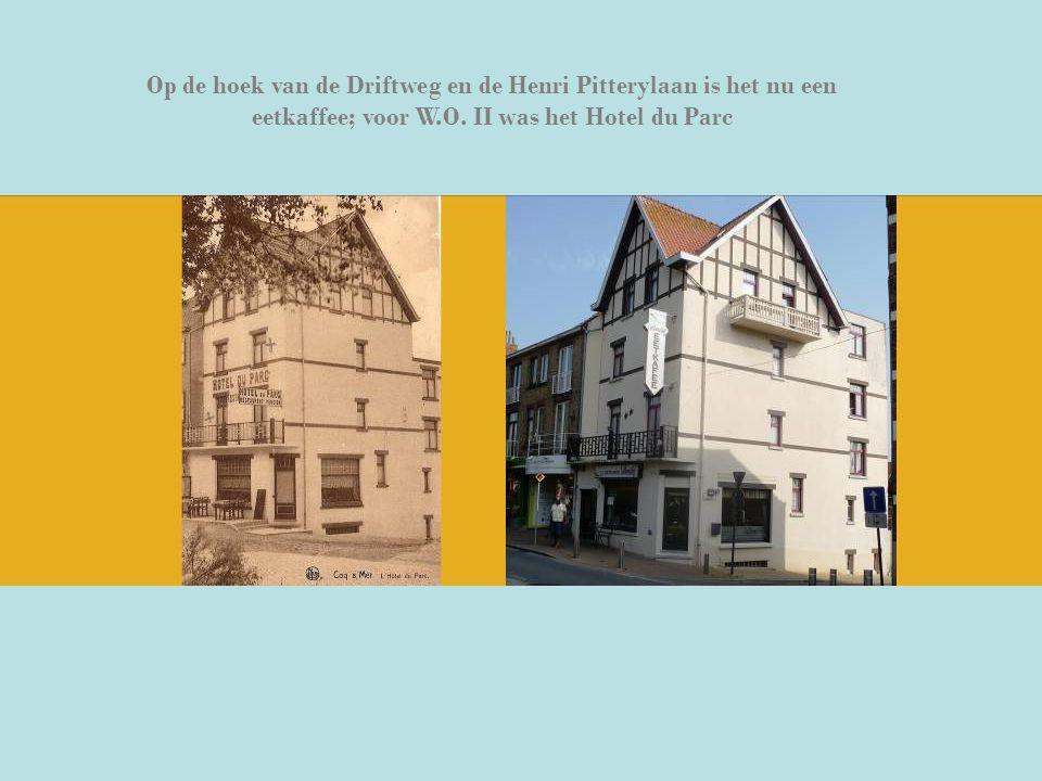 Op de hoek van de Driftweg en de Henri Pitterylaan is het nu een eetkaffee; voor W.O. II was het Hotel du Parc
