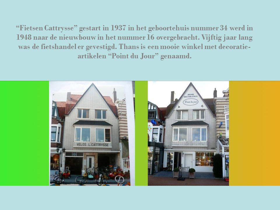 """""""Fietsen Cattrysse"""" gestart in 1937 in het geboortehuis nummer 34 werd in 1948 naar de nieuwbouw in het nummer 16 overgebracht. Vijftig jaar lang was"""