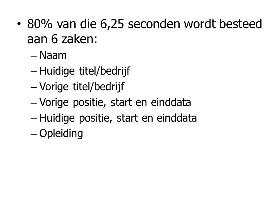 • 80% van die 6,25 seconden wordt besteed aan 6 zaken: – Naam – Huidige titel/bedrijf – Vorige titel/bedrijf – Vorige positie, start en einddata – Hui