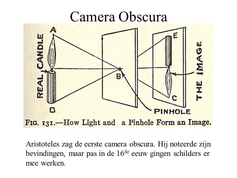 Camera Obscura Aristoteles zag de eerste camera obscura. Hij noteerde zijn bevindingen, maar pas in de 16 de eeuw gingen schilders er mee werken.