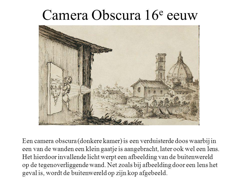 Camera Obscura 16 e eeuw Een camera obscura (donkere kamer) is een verduisterde doos waarbij in een van de wanden een klein gaatje is aangebracht, lat