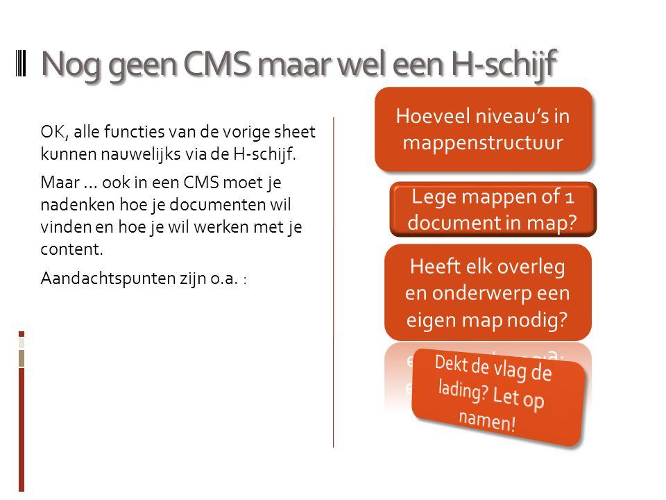 Nog geen CMS maar wel een H-schijf OK, alle functies van de vorige sheet kunnen nauwelijks via de H-schijf. Maar … ook in een CMS moet je nadenken hoe