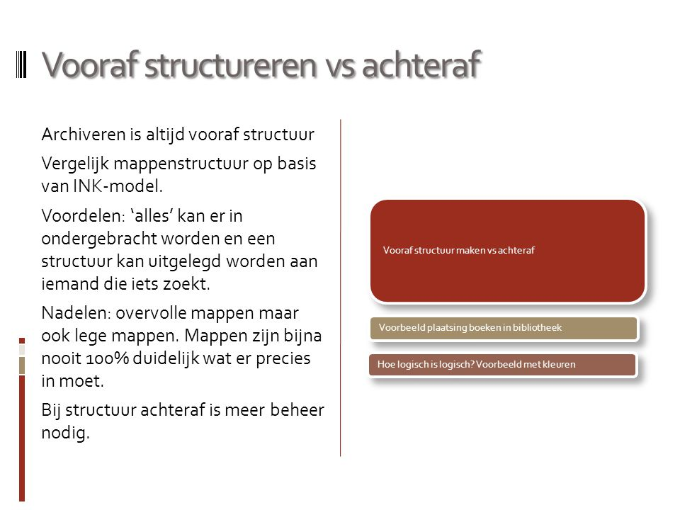 Vooraf structureren vs achteraf Archiveren is altijd vooraf structuur Vergelijk mappenstructuur op basis van INK-model. Voordelen: 'alles' kan er in o