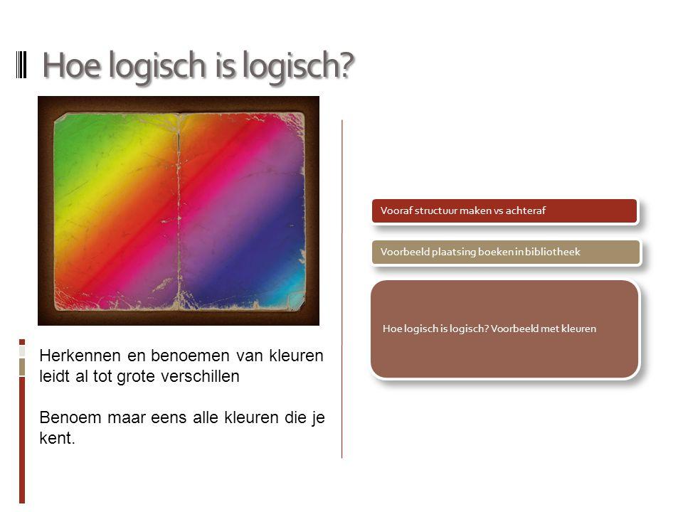 Hoe logisch is logisch? Vooraf structuur maken vs achterafVoorbeeld plaatsing boeken in bibliotheek Hoe logisch is logisch? Voorbeeld met kleuren Herk