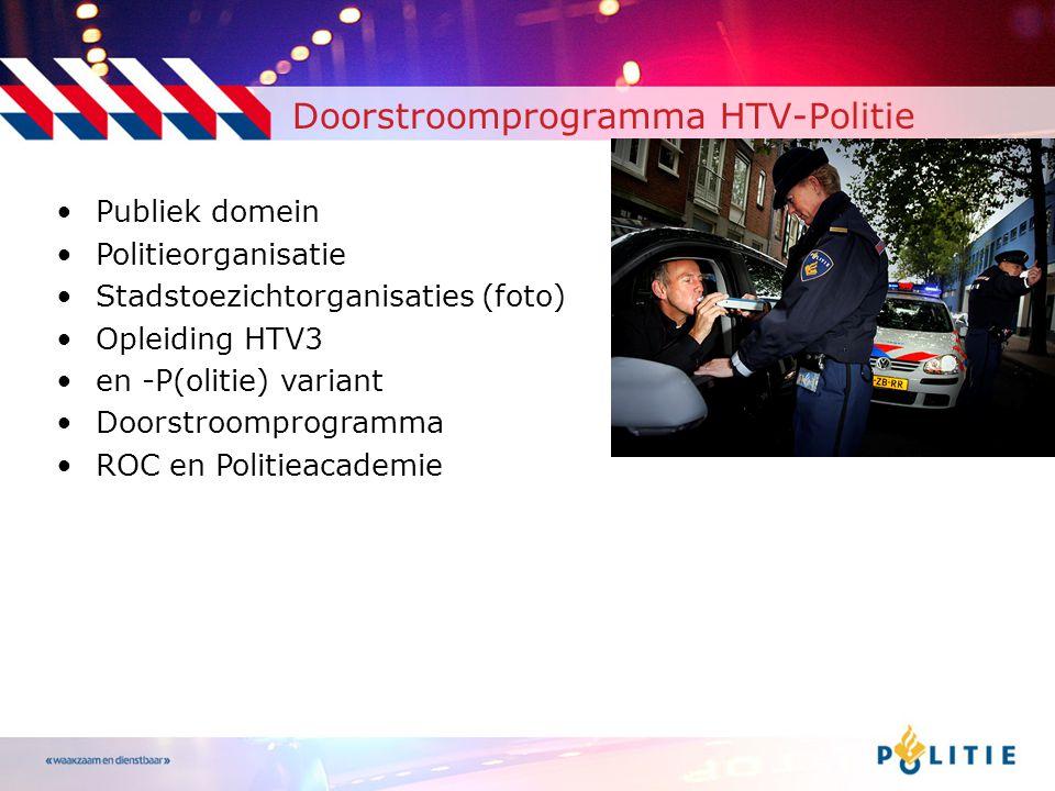 Doorstroomprogramma HTV-Politie •Publiek domein •Politieorganisatie •Stadstoezichtorganisaties (foto) •Opleiding HTV3 •en -P(olitie) variant •Doorstroomprogramma •ROC en Politieacademie