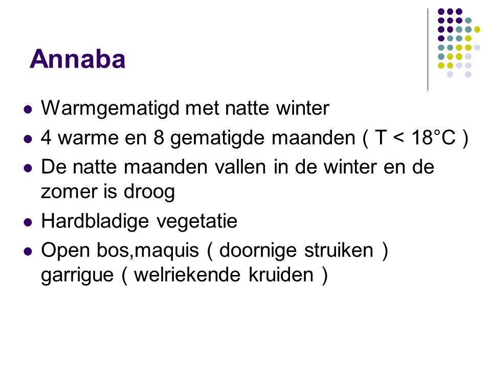 Annaba  Warmgematigd met natte winter  4 warme en 8 gematigde maanden ( T < 18°C )  De natte maanden vallen in de winter en de zomer is droog  Har