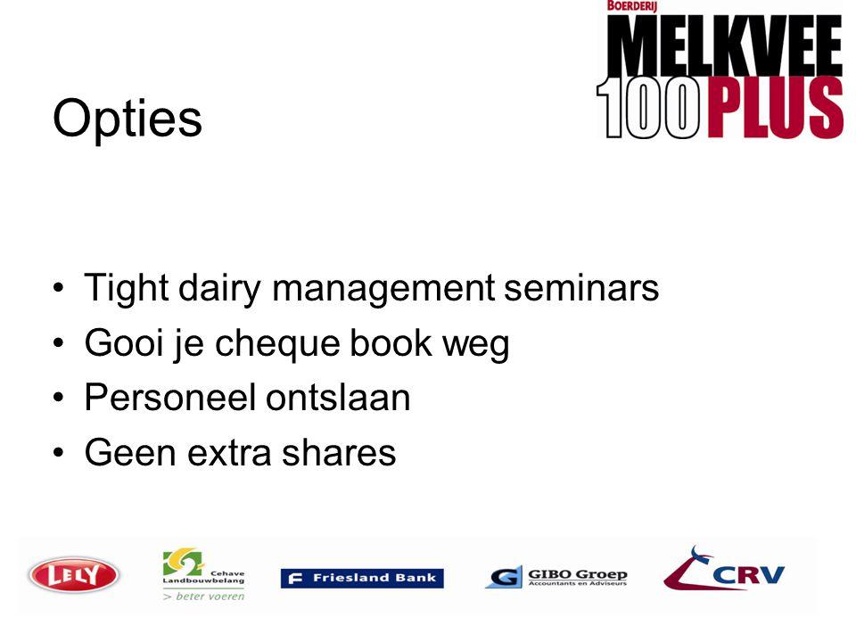 Opties •Tight dairy management seminars •Gooi je cheque book weg •Personeel ontslaan •Geen extra shares