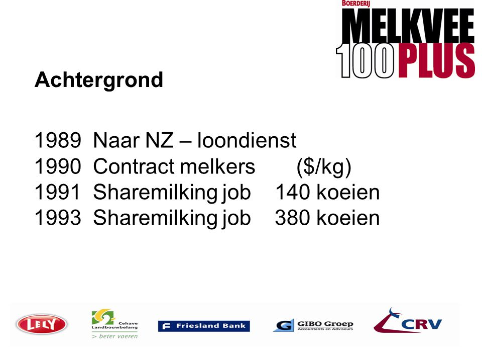Achtergrond 1989 Naar NZ – loondienst 1990 Contract melkers ($/kg) 1991 Sharemilking job 140 koeien 1993 Sharemilking job 380 koeien