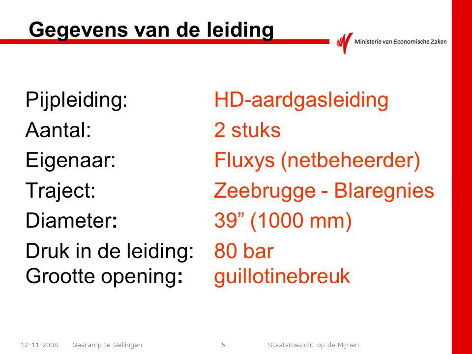Gasramp te Gellingen Staatstoezicht op de Mijnen 12-11-200827 Gegevens uit actiekaart Uit de actiekaart volgt dat bij brand als gevolg van een guillotinebreuk in een gasleiding met een diameter van 1000 mm dat het 90 dbA geluidsniveau op 250 meter ligt.