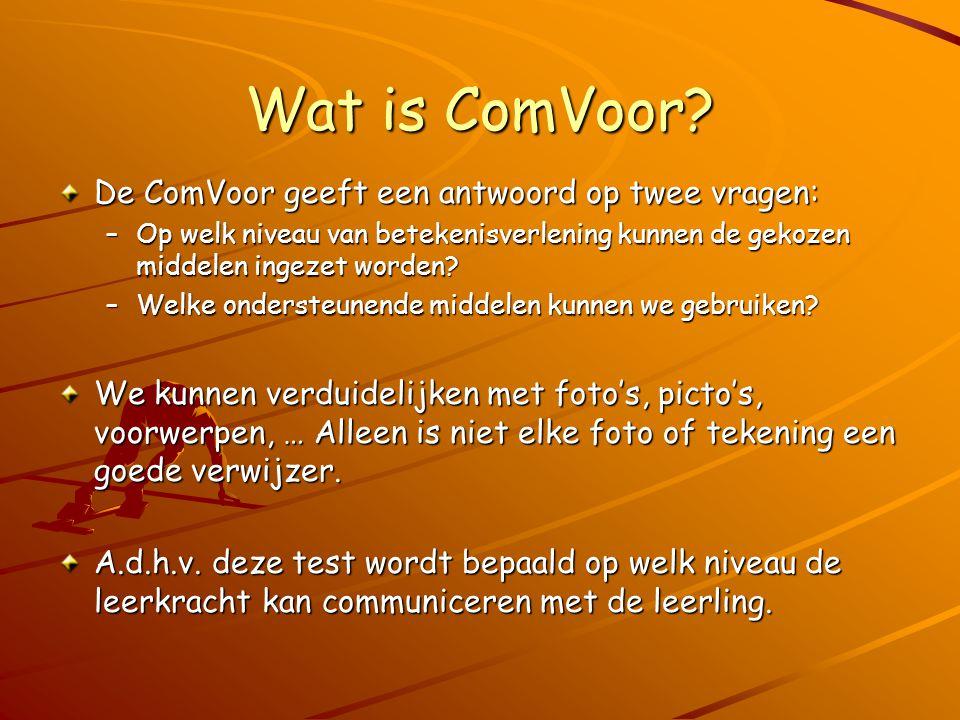 Wat is ComVoor? De ComVoor geeft een antwoord op twee vragen: –Op welk niveau van betekenisverlening kunnen de gekozen middelen ingezet worden? –Welke