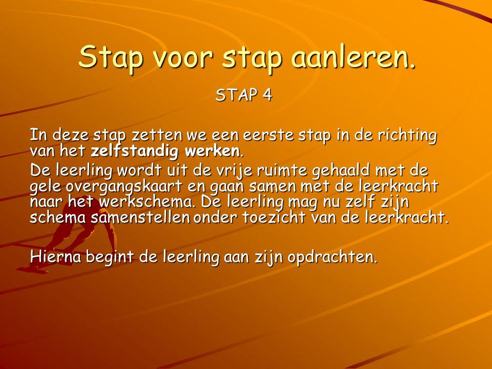 Stap voor stap aanleren. STAP 4 In deze stap zetten we een eerste stap in de richting van het zelfstandig werken. De leerling wordt uit de vrije ruimt