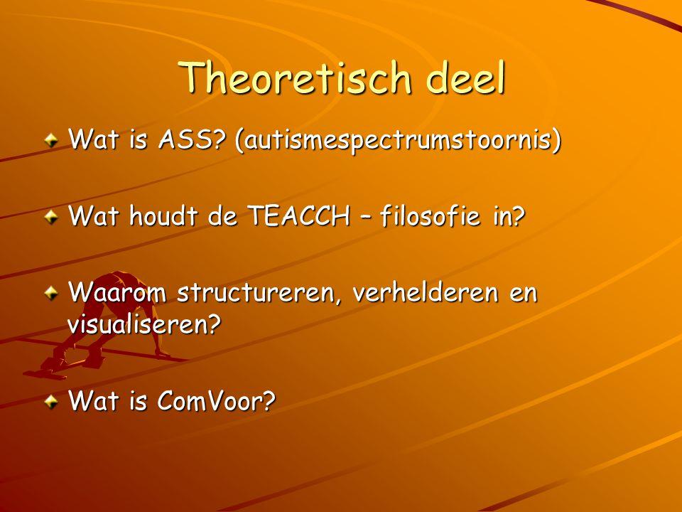 Theoretisch deel Wat is ASS? (autismespectrumstoornis) Wat houdt de TEACCH – filosofie in? Waarom structureren, verhelderen en visualiseren? Wat is Co