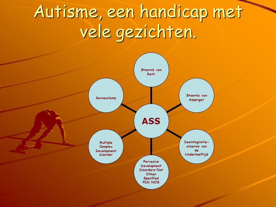 Autisme, een handicap met vele gezichten. ASS Stoornis van Rett Stoornis van Asperger Desintegratie- stoornis van de kinderleeftijd Pervasive Developm