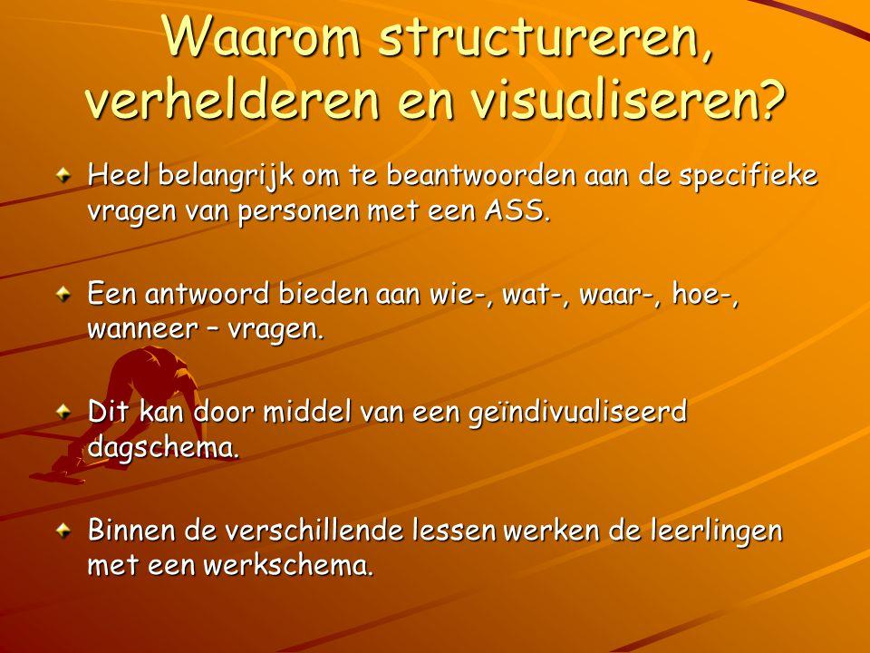 Waarom structureren, verhelderen en visualiseren? Heel belangrijk om te beantwoorden aan de specifieke vragen van personen met een ASS. Een antwoord b