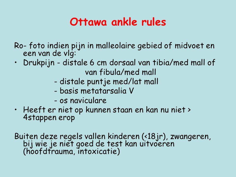 Ottawa ankle rules Ro- foto indien pijn in malleolaire gebied of midvoet en een van de vlg: •Drukpijn - distale 6 cm dorsaal van tibia/med mall of van