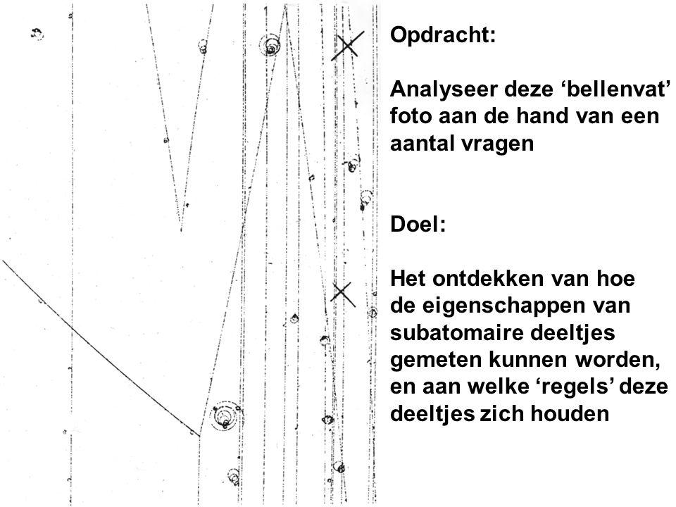 Opdracht: Analyseer deze 'bellenvat' foto aan de hand van een aantal vragen Doel: Het ontdekken van hoe de eigenschappen van subatomaire deeltjes geme