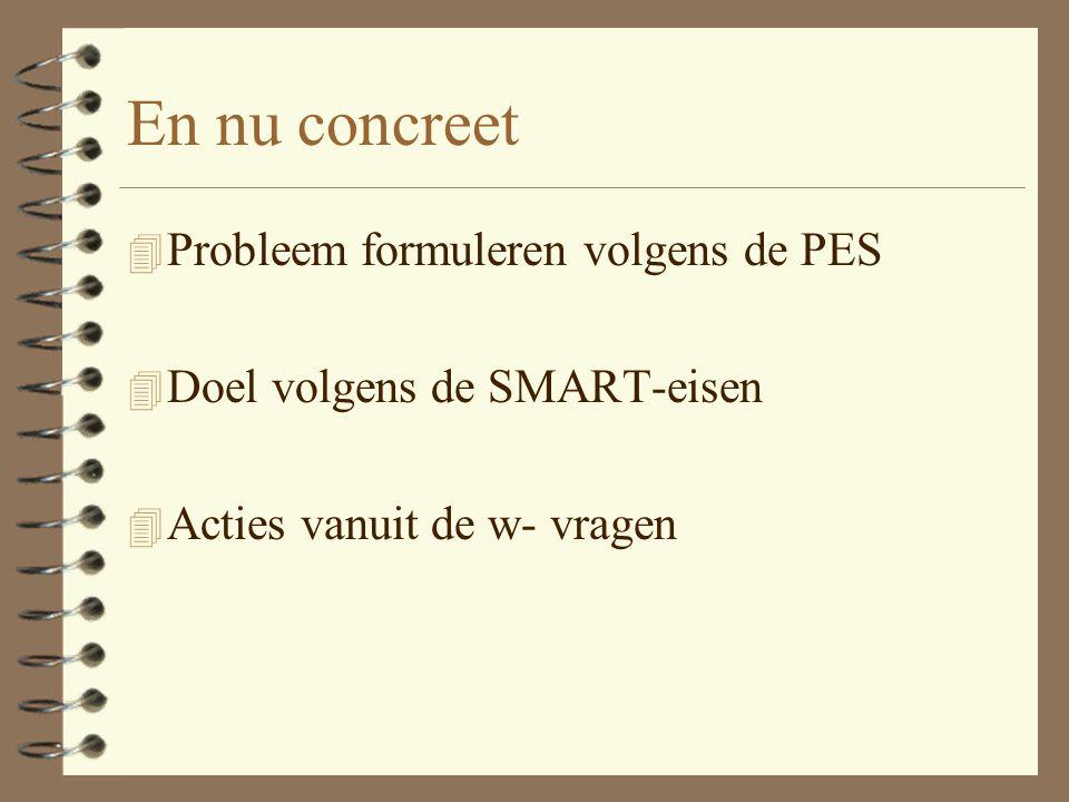 En nu concreet 4 Probleem formuleren volgens de PES 4 Doel volgens de SMART-eisen 4 Acties vanuit de w- vragen