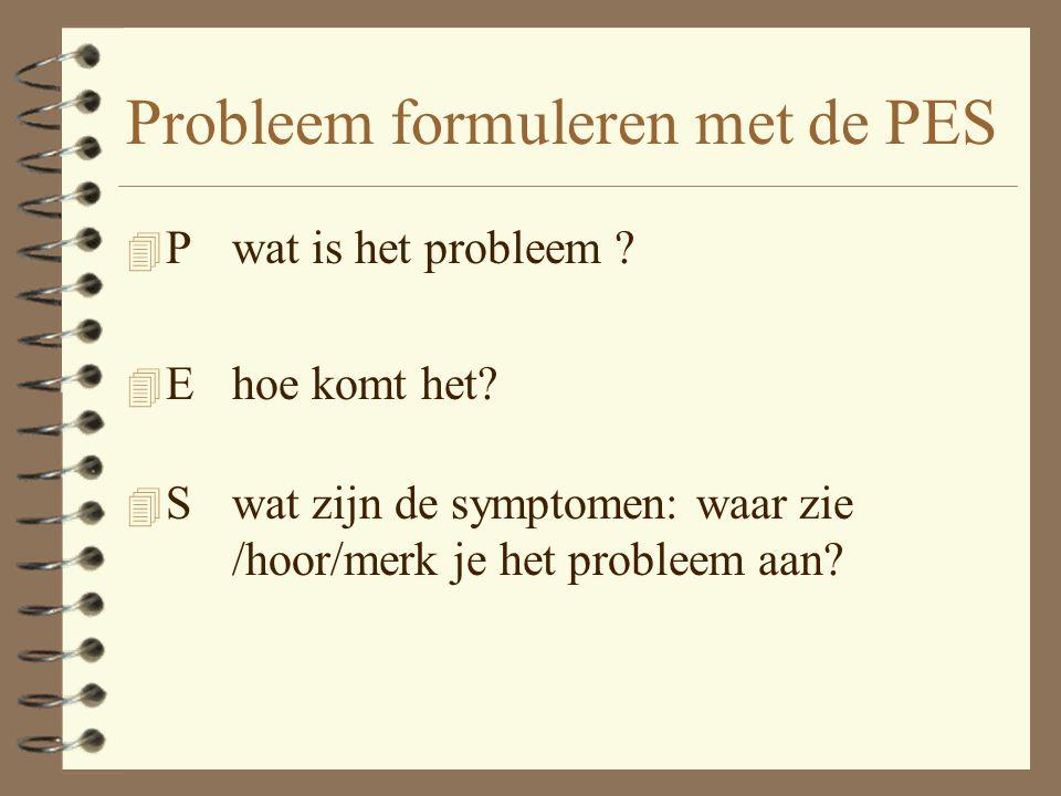 Probleem formuleren met de PES 4 Pwat is het probleem .