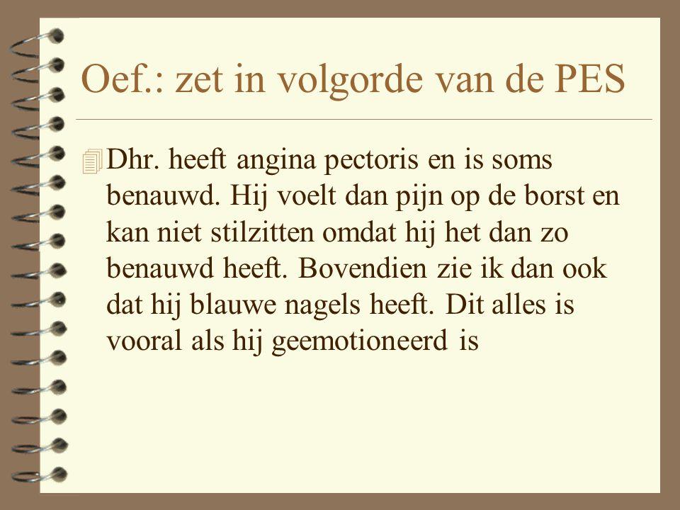 Oef.: zet in volgorde van de PES 4 Dhr.heeft angina pectoris en is soms benauwd.