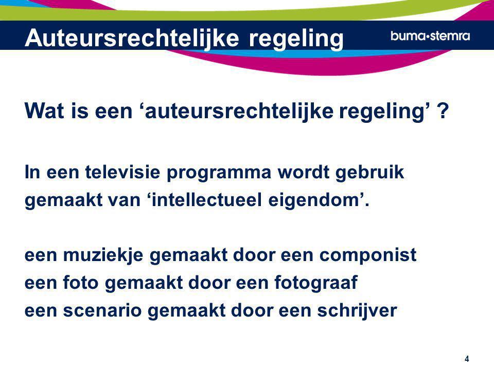 Auteursrechtelijke regeling Voor het doorgeven van een programma via een kabelnet waarin gebruik van het muziekje, de foto, het scenario wordt gemaakt, moet de kabelnetexploitant/distributeur toestemming vragen van alle rechthebbenden van het muziekje, de foto, het scenario etc.