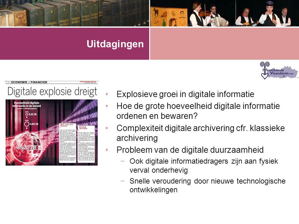 Uitdagingen •Explosieve groei in digitale informatie •Hoe de grote hoeveelheid digitale informatie ordenen en bewaren? •Complexiteit digitale archiver
