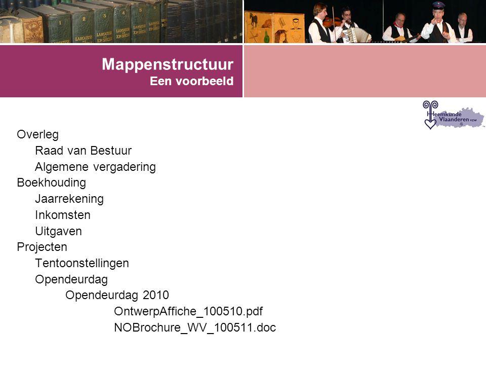 Mappenstructuur Een voorbeeld Overleg Raad van Bestuur Algemene vergadering Boekhouding Jaarrekening Inkomsten Uitgaven Projecten Tentoonstellingen Opendeurdag Opendeurdag 2010 OntwerpAffiche_100510.pdf NOBrochure_WV_100511.doc