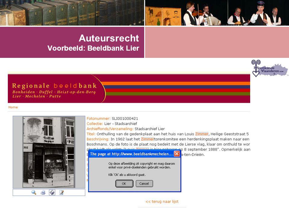 Auteursrecht Voorbeeld: Beeldbank Lier