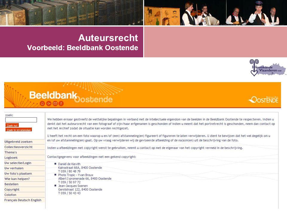 Auteursrecht Voorbeeld: Beeldbank Oostende